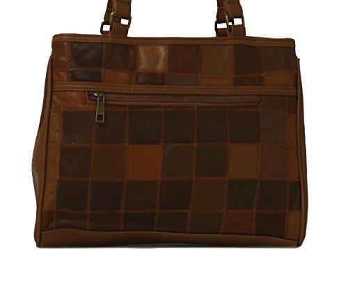 NEU Damen / Damen braun schwer schwer Patch Works Leder Handtaschen Braun - UK Größen 1-1