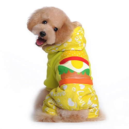 Ancdream Cute Hamburger Printer Winter Coat Costume For Small Puppy Dog Yellow (Dog Hamburger Costume)