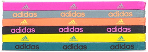 Adidas Fighter - Cinta para el Pelo (6 Unidades), Gris,Rosa, Naranja, Amarillo, Verde (Shock Pink/Grey/Solar Orange/Night...