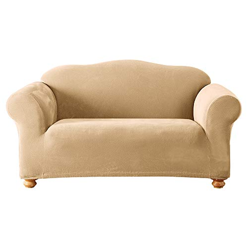 (Sure Fit Stretch Pique Knit  - Loveseat Slipcover  - Cream (SF38410))