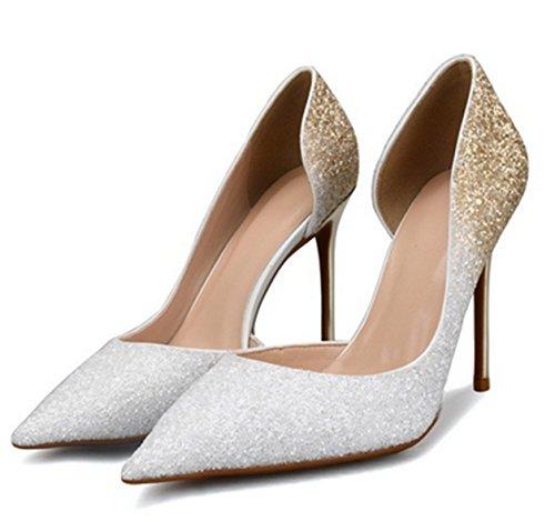 Tacón Lentejuelas Altos Plateado Yogly Con Para Puntos Sexy Zapatos De Fiesta Puntiagudos Elegantes Boda Banquete xnqZ0qU1wT
