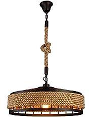 Lámpara colgante de jaula industrial vintage, E27 Lámpara rústica colgante de Edison - Cuerda de cáñamo Suspensión de techo Luminaria for restaurante Bar Barn Garage (Negro) ( tamaño : 60CM )