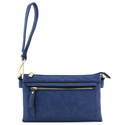 Royal Blue Wristlet Crossbody Bag Compartment Clutch Multi 5BxYqXwaY