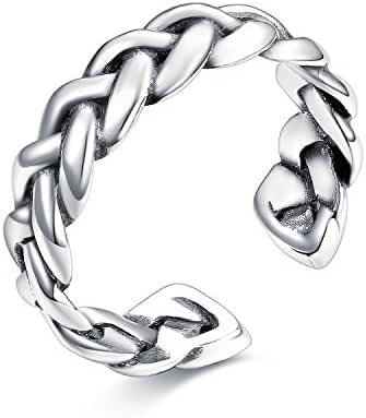 UMODE Jewelry Antique 925 Sterling Silver Celtic Knot Weave Open Band Ring