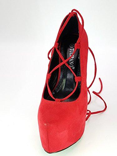 tulipano shoes scarpe donna ragazza moda comoda new decoltè decolletè dekol'tè tacco a spillo 16 cm plateaux cm 5 cm tg 37 colore rosso tessuto finto camoscio con laccetto alla schiava