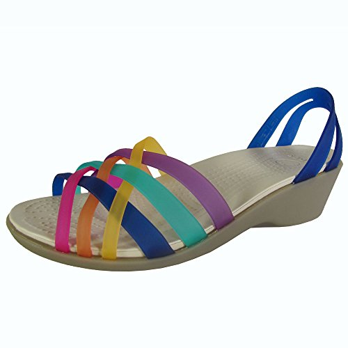 Crocs Womens Huarache Mini Wedge Sandal Shoes, Cerulean Blue/Multi, US 5