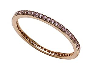 Zoe R(tm) Rose Gold Plated Sterling Silver Micro Pave Hand Set Cubic Zirconia (CZ) Stackable Eternity Band Size 7
