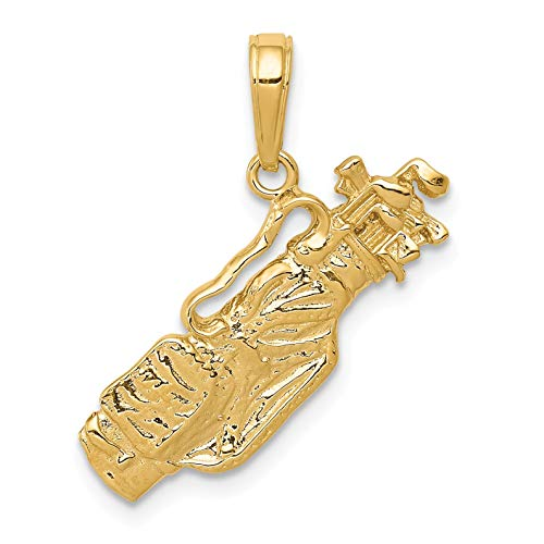 Bonyak Jewelry 14k Solid Polished Open-Backed Golf Bag with Clubs Charm in 14k Yellow Gold -