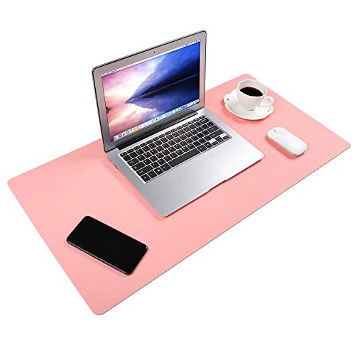VTAR Desk Pad, 31.5 x 15.7 inches Waterproof PU Leather Large Mouse Pad, Dual-Side Use Desk Writing Mat Protector for Office and Home (Pink+Azure)