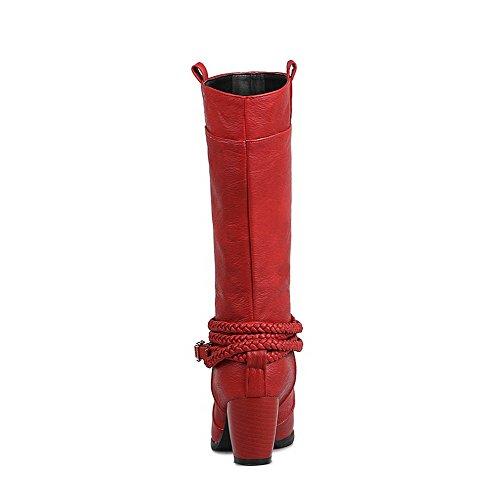 VogueZone009 Damen Mittler Absatz Rein Rund Zehe Weiches Material Ziehen auf Stiefel Rot