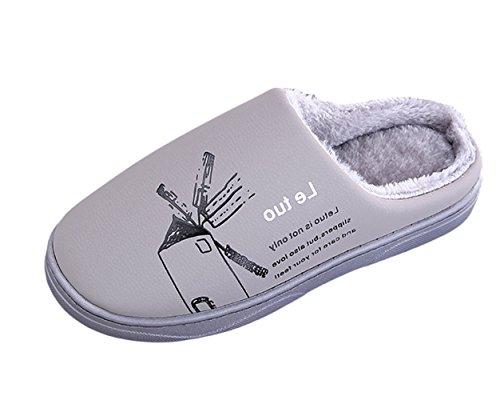 Doublure Pantoufles Mules Gris Thermique avec Plat Intérieure Chaussons Insun Unisexe Slippers q544t