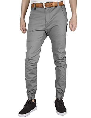 Sons Men Pants (ITALY MORN Mens Flat Front Chino Jogger Pants Casual Khaki Slim Fit Elastic Cuff (Large, Mid Grey))