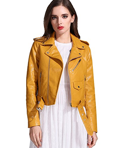 LY VAREY LIN Women's Faux Leather Motorcycle Jacket PU Slim Short Biker Coat (M, Yellow)