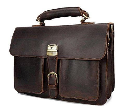 SHOUTIBAO Borse vintage da uomo, cartelle da lavoro, borse a tracolla, borsa da lavoro, shopping/viaggi, resistente all'usura e durevole, brown brown