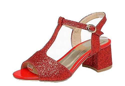 Rouge Sandales à Femme Unie Couleur Correct Talon AalarDom Boucle TSFLH007761 H0zqPwgHx