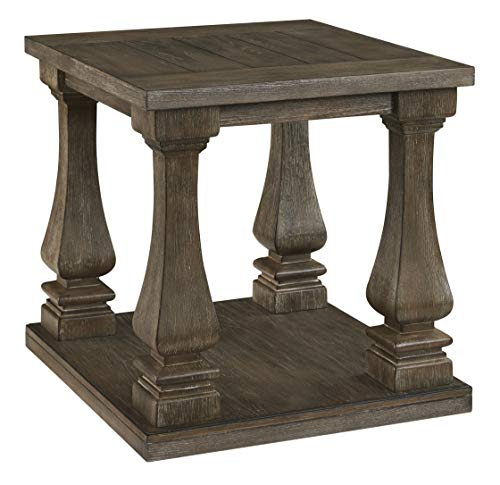 Signature Design by Ashley T776-3 Johnelle Rectangular End Table, Gray (Baluster Table)