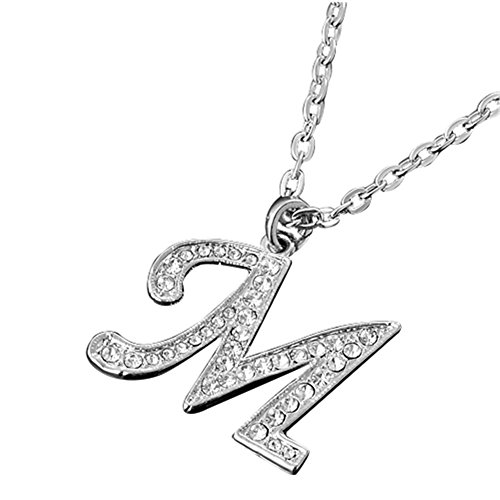 MGStyle Pendant Necklace - Capital Initials Letter M - Silver Tone - Rhinestone & Alloy with Deluxe Gift Box (Initial Rhinestone)
