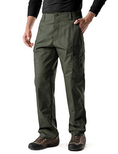 (CQR Men's ACU/BDU Rip Stop Trouser EDC Tactical Combat Pants, Brigade Pants(ubp01) - Green, Medium(W32-36)-Short)