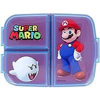 Supermario broodtrommel voor school, met 3 vakken, van kunststof, voor kinderen, BPA-vrij, Super Mario