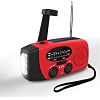 Hand Crank Radio,Valoin 2018 Multi-functional Hand Crank Flashlight with FM NOAA Weather Radio for Emergency/Camping/Outdoor Survival and More (Red-A)