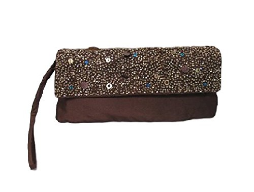 Sequin Dinner Bag Ladies Purse Chocolate Brown Evening Clutch Womens Beaded YY6qwIg