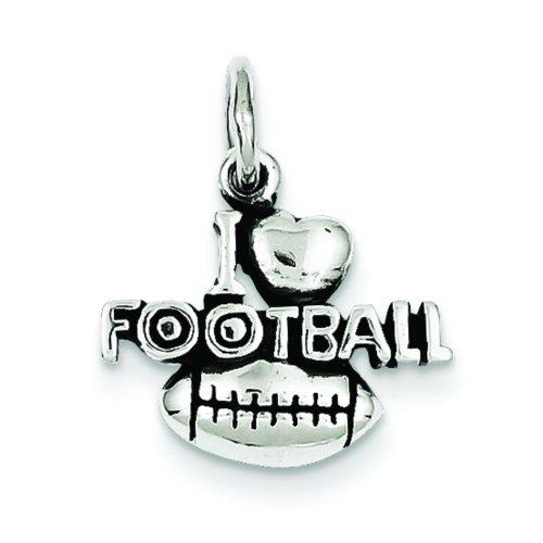 Sterling Silver Antiqued I Love Football Charm ()