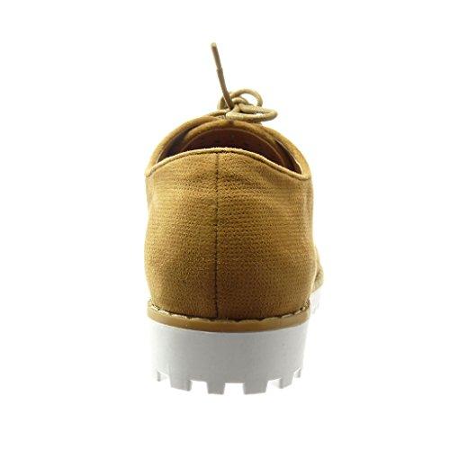Angkorly - Scarpe da Moda scarpa derby donna perforato intrecciato Tacco a blocco 2.5 CM - Marrone