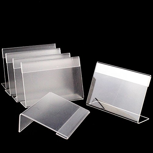 Airgoesin 20pcs Acrylic Sign Display Holder Price Name Card Label Slant Back Tag Stand 9cmx6cm