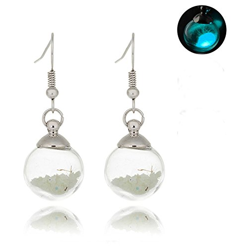 Nature Pressed Flower Dandelion Glass Ball Resin Sphere Pendant Luminous Glow in Dark Dangle Earrings Jewelry