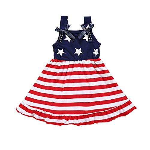 Lovygaga Fashion Summer Toddler Kids Baby Girl Sweet American Flag 4th of July Prom Party Bowknot Sling Swing Dress Red