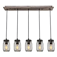 LNC Wood Pendant Lighting 5-light Glass Mason Jar Ceiling Lights Linear Chandelier Lighting