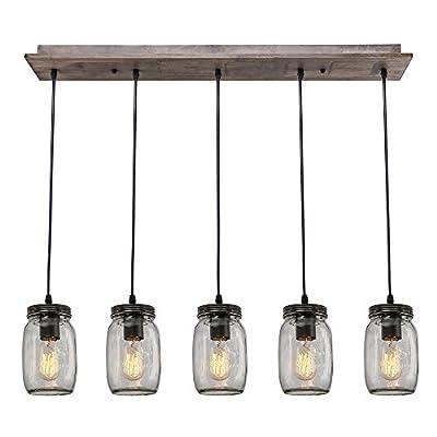 LNC Wood Pendant Lighting 5-light Glass Mason Jar Ceiling Lights Linear Chandelier Lighting