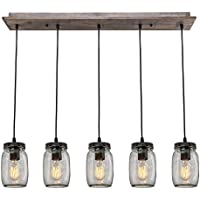 LNC A02983 Adjustable Mason Jar Kitchen Island Lighting...