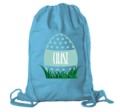 Dots Blue Personalized Gift Basket - Personalized Easter Basket Bags, Cotton Drawstring Backpacks Custom Easter Bags - Dots Egg - Teal CE2725Easter B S2