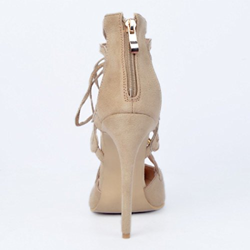 Pointed High Heels Straps Cross Size apricot 12 Elegant 2 Pumps 5 Toe UK Women MERUMOTE wxCE0qwS