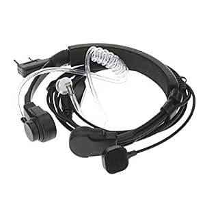Kenwood 3,5mm + 2,5mm Retractable Throat vibración dedos Tubo de PPT Acústica auricular + Mic