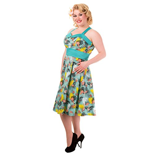 Banned Ärmelloses Neckholder Damen Retro Kleid - Flamingo Wanderlust Rockabilly 50s Dress - Tropical Sommerkleid bis 4XL