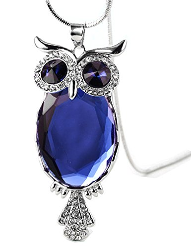 2017 New Style Crystal Owl Necklace Lovely Alloy Long Chain Pendant Necklace(Blue) (Thing 1 And Thing 2 Costume Ideas)