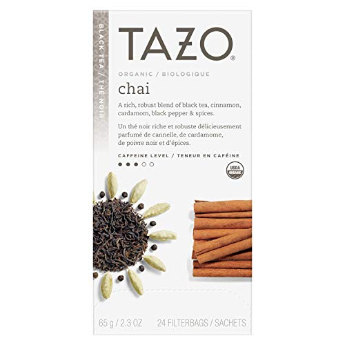 (TazoOrganic Chai Enveloped Hot Tea Filterbags Non GMO, 24 count, Pack of 6)