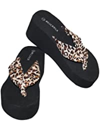 Women Casual Beach Platform Wedge thong Sandal with Leopard Print Straps