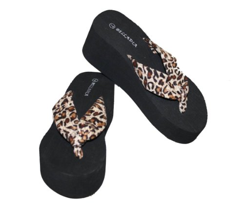 Dona Michi Leather Women Casual Beach Platform Wedge thong Sandal Leopard Print Straps-Tan_6