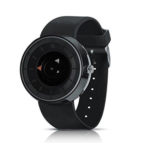 Creazy Fashion Men's Luxury Stainless Steel Analog Quartz Sport Wrist Watch (Black) from Creazydog