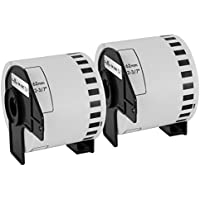Speedy Inks - 2PK Compatible Brother DK-2205 White Paper Tape - 2.4 in x 100 ft for use in QL-1050 QL-1050N QL-1060N QL-500 QL-500EC QL-550 QL-570 QL-570VM QL-580N QL-650TD QL-700 QL-710W QL-720NW