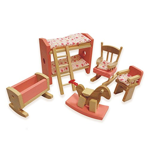 HNVOUER Dollhouse Furniture, Wooden Dollhouse Furniture, Dollhouse Furniture Set, Colorful Wooden Dollhouse by HNVOUER