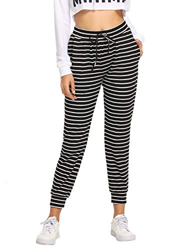 nts Color Block Casual Tie Waist Yoga Jogger Pants Black White Striped L ()