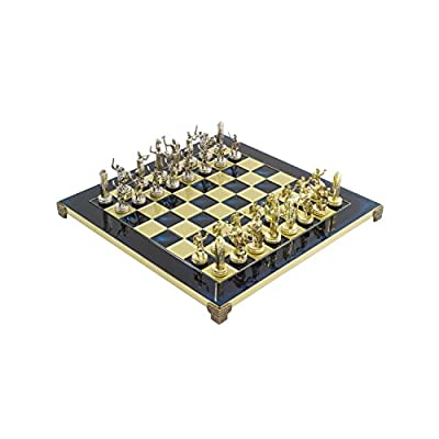 Blue Poseidon Greek Metal Luxury Chess Set With Brass & Nickel Gold / Silver Coloured Chessmen