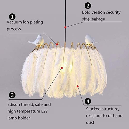 (XQY Decorative Chandelier-White Feather Ceiling Pendant Light Led Pendant Lamp Bird Decoration Hanging Light for Living Room Dining Room Bedroom Children Bedroom Decoration Hanging Lamp, 50Cm [Energy)
