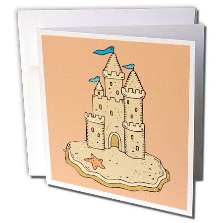 3dRose Dooni Designs Floral and Nature Designs - Cute Sandcastle And Starfish Summer Fun Beach Nature Design - 6 Greeting Cards with envelopes (gc_116499_1)