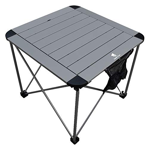 Geertop Portable Folding Camping Table Aluminum Lightweight Roll Up Table Top Square Compact Collapsible Camp Side Table for Picnic Beach BBQ, Outdoor Kitchen Cooking Backpacking Travel Hiking Table
