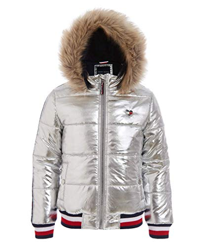 Tommy Hilfiger Big Girls' Quilted Puffer Jacket, Taping Metallic Silver, L12/14 (Quilted Kids Jacket)